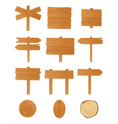 set of different wooden signboards planks vector image