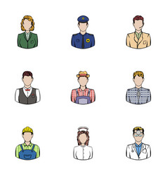 working people icons set cartoon style vector image vector image