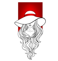 Young girl in a vintage hat vector image vector image