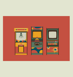 arcade game machines and claw machine retro vector image