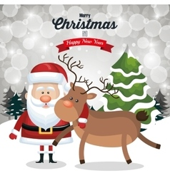 christmas card santa and deer cute tree snow and vector image