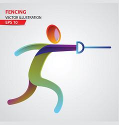 fencing sport logo vector image vector image