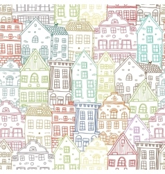 Hand Drawn Houses Seamless Pattern vector image