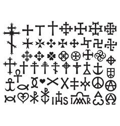 heraldic crosses and christian monograms vector image