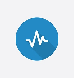 pulse Flat Blue Simple Icon with long shadow vector image vector image