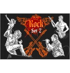 Rock-stars on rock concert - set vector image vector image