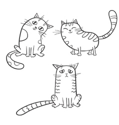 set of cute cartoon cat in various poses vector image vector image