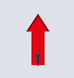 back view of businessman inside abstract red arrow vector image vector image