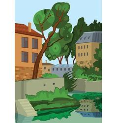 Cartoon buildings near the lake vector image