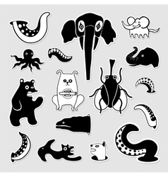 Crazy bizarre animal characters vector image