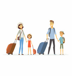 family on holiday - cartoon people characters vector image