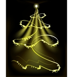 Golden Christmas tree with a star and snowflakes vector image vector image