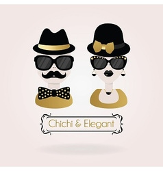Hipster black and golden male and fenale icon vector