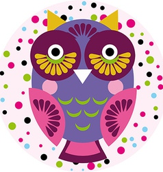 Owl on a pink background in colored polka dots vector image