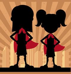 super kids 2 girls vector image vector image