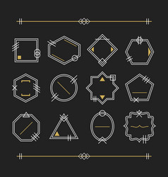 trendy white and golden empty line white emblems vector image vector image