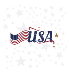 usa lettering with flag vintage label badge with vector image