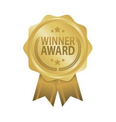 winner award golden badge ribbon vector image