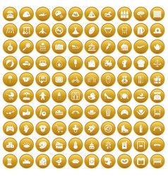 100 mother and child icons set gold vector