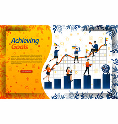 achieve goals in business people try to achieve vector image