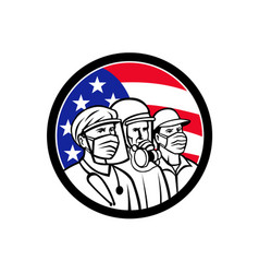 American essential workers wearing mask usa flag vector