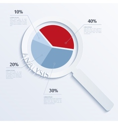 Analysis Magnifying glass with business pie vector image