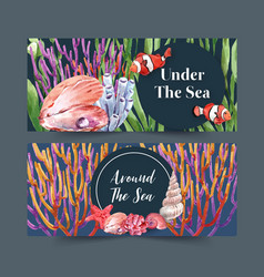 Banner design with classic sealife theme coral vector
