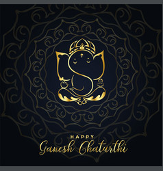 Beautiful golden ganesh ji background design vector