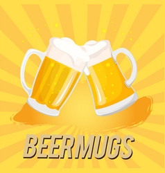 beer mugs two mugs of beer image vector image