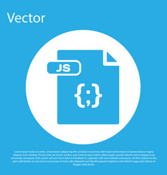 Blue js file document download js button icon vector