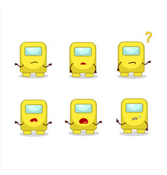 Cartoon character among us yellow with what vector