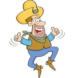 Cartoon cowboy jumping vector