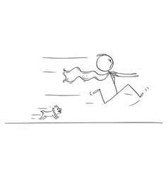 Cartoon scared superhero running away in fear vector