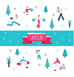 christmas and 2019 new year vector image