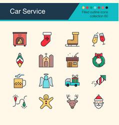 christmas decoration icons modern line design set vector image
