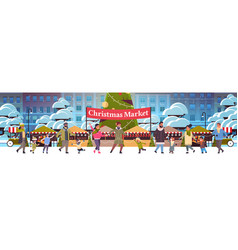 christmas market or holiday outdoor fair vector image