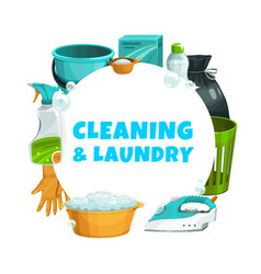 cleaning and laundry service clean house washing vector image