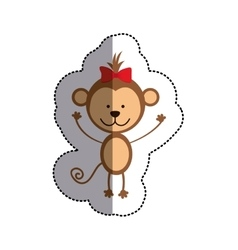Color sticker with monkey with red bow and middle vector