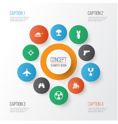 combat icons set collection of target aircraft vector image