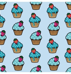 Cream cake blue seamless pattern vector image