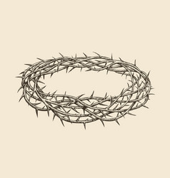 crown of thorns sketch hand drawn vintage vector image