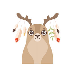 Cute animal wearing headdress with feathers vector
