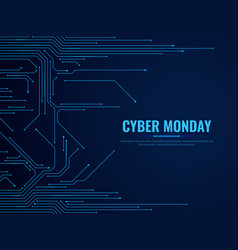 cyber monday circuit board technology traces vector image