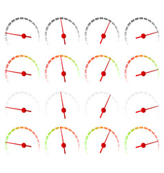 Dial meter faces isolated 4 color versions vector