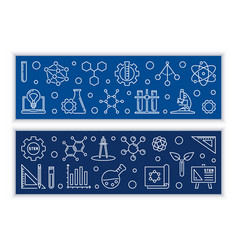 Education and stem concept banners in thin vector