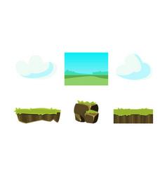 elements of nature summer landscape ground grass vector image