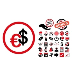 Euro and Dollar Currency Flat Icon with vector image