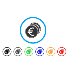 euro coins rounded icon vector image