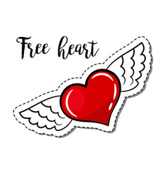 fashion patch element winged heart vector image