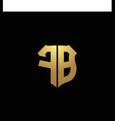 Fb logo monogram with gold colors and shield vector
